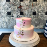 2 tiered cake with gold leaf