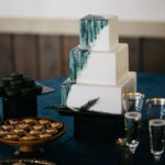 3 tiered square cake with paint detail