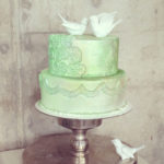 Seafoam Green Cake with Birds