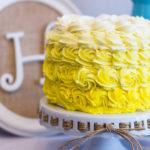 Yellow cake with rose texture