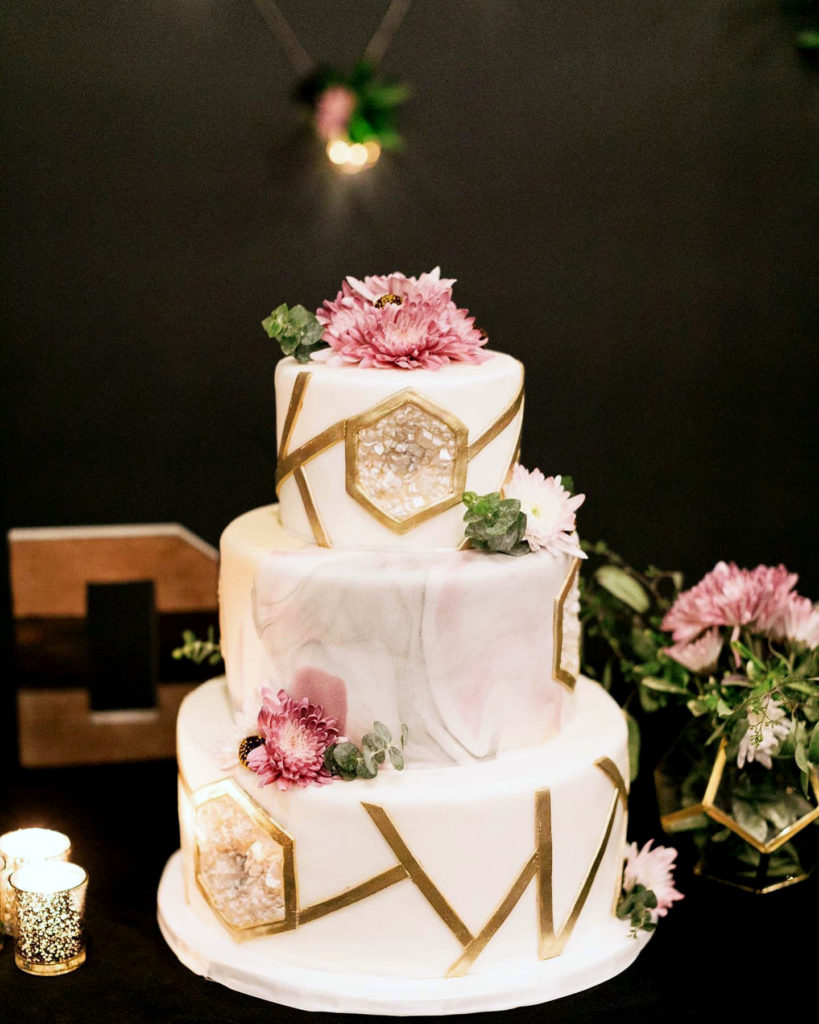 geometric fondant cake